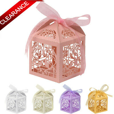 Clearance !! 100Pcs Ribbon Gift Favor Boxes Candy Bags Wedding Party Baby