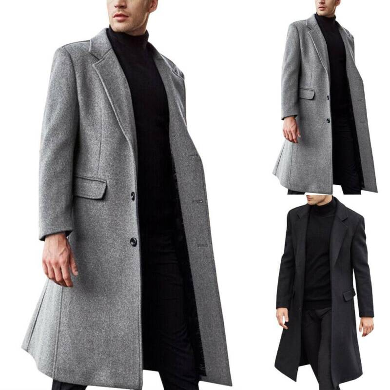 Men's Warm Wool Trench Coat Single Breasted Overcoat Long Bl