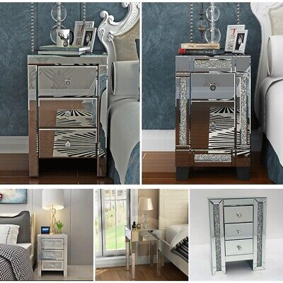 Modern Chest of Drawers Glass Bedside Table Bedroom Mirrored Cabinet Nightstand