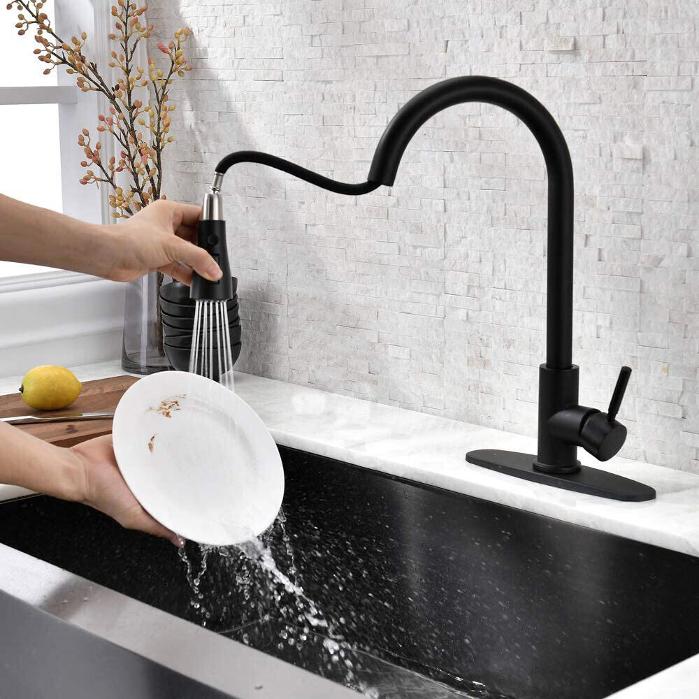 Kitchen Faucet Black Pull Down Sprayer Head 3 Holes Sink Taps W/soap dispenser 7