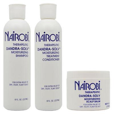 (Nairobi Dandra Solv Moisturizing Shampoo, Conditioner, Scalp Balm SET)