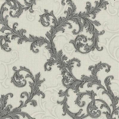 Versace Wallpaper Damask Swirl Trail Off White Black Textured Paste Wall Vinyl