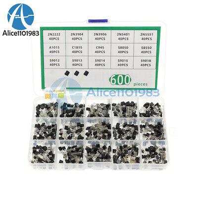 600pcs 15 Values X 40 Pcs Assorted Transistor To-92 Assortment Box Kit