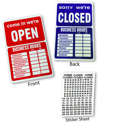 Open Closed Business Hours Sign With Time Sheet Stickers
