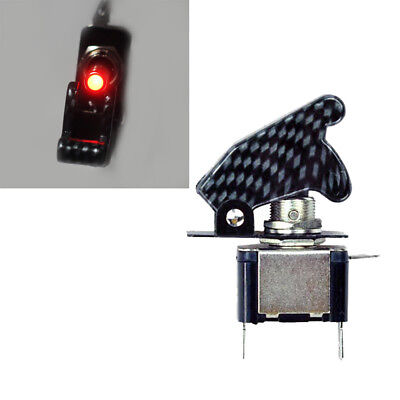 Red Led Light Carbon Cover 12v 20a Rocker Toggle Switch Spst Onoff Car New