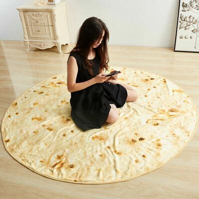 Round Taco Burrito Blanket Tortilla Soft Flannel Wrap Picnic Blanket Throw Mat Bedding