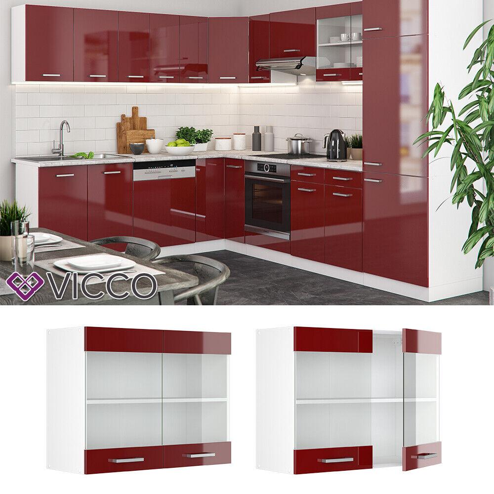 VICCO Küchenschrank Hängeschrank Unterschrank Küchenzeile R-Line Hängeglasschrank 80 cm bordeaux