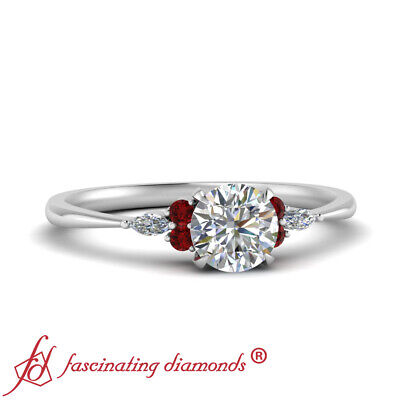 7 Stone Tapered Engagement Ring With Round Cut Diamond And Ruby Gemstone 1 Carat