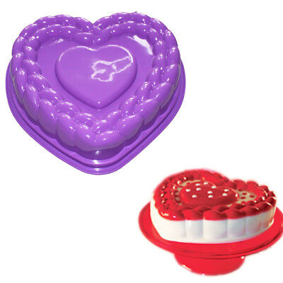 Heart Gelatin Mold (Flexible Large Heart Gelatin Cake Baking Pan Silicone Mousse Mold Party)
