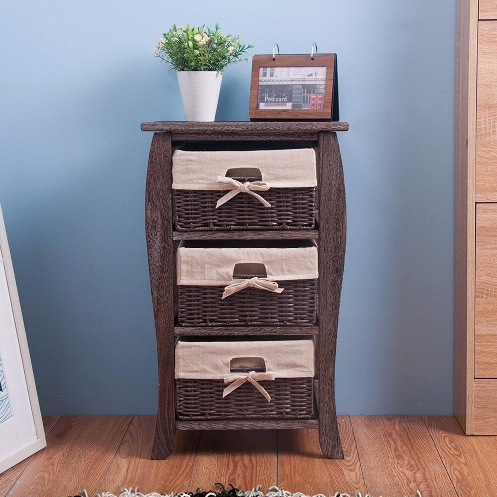 Sale Retro Wood Tall Bedside Table Nightstands Cabinet Bathroom Storage Unit With 3 Basket