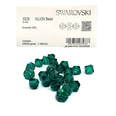 Swarovski 5301 Bicone (40 Swarovski Perlen 4mm Emerald Grün 5301/5328 Xilion Bicone Kristall Perlen )