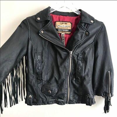 SUPERDRY Motorcycle Fringe Genuine Leather Biker Jacket Women's XS Vintage Style