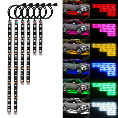 6PCS Motorcycle Led Lights Wireless Remote 18 Color Neon Glow Light Strips Kit 4