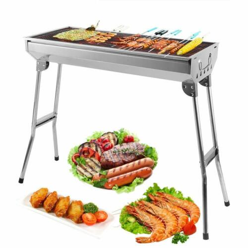 Large Stainless Steel Outdoor Folding Barbecue BBQ Charcoal Grill Camping Picnic
