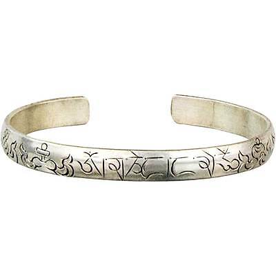 Om Mani Padme Hum Mantra Engraved Yoga Healing Tibetan Silver Bangle Bracelet