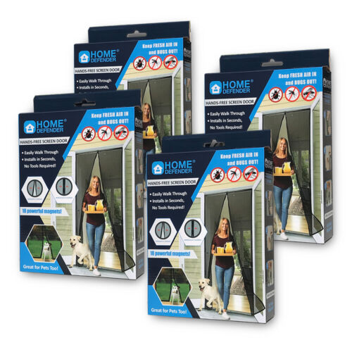 """4 PACK 83"""" X 39"""" Magic Mesh Hands-Free Screen Door magnets KEEP BUGS OUT"""