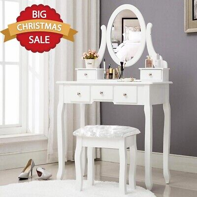 WHITE DRESSING TABLE 5 DRAWER WITH STOOL ADJUSTABLE MIRROR MAKEUP DESK BEDROOM