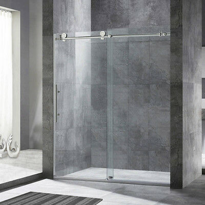 "WoodBridge Frameless Sliding Shower Door, 44"" - 48"" Reach, 76"" Height, BN"