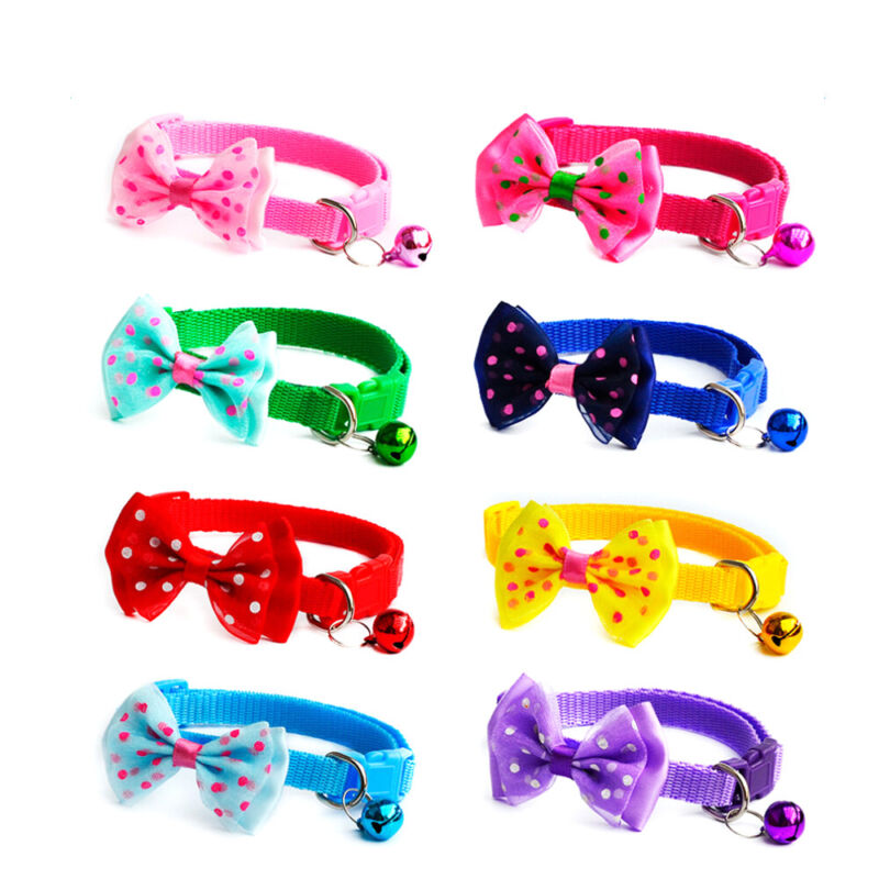 Adjustable Dog Cat Pet Cute Dot Bow Tie With Bell Puppy Kitt