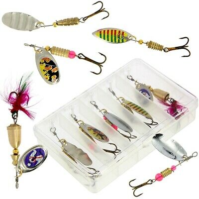 5Pcs Fishing Spinners Sea Perch Pike Trout Fishing Lures Tackle Box Hooks