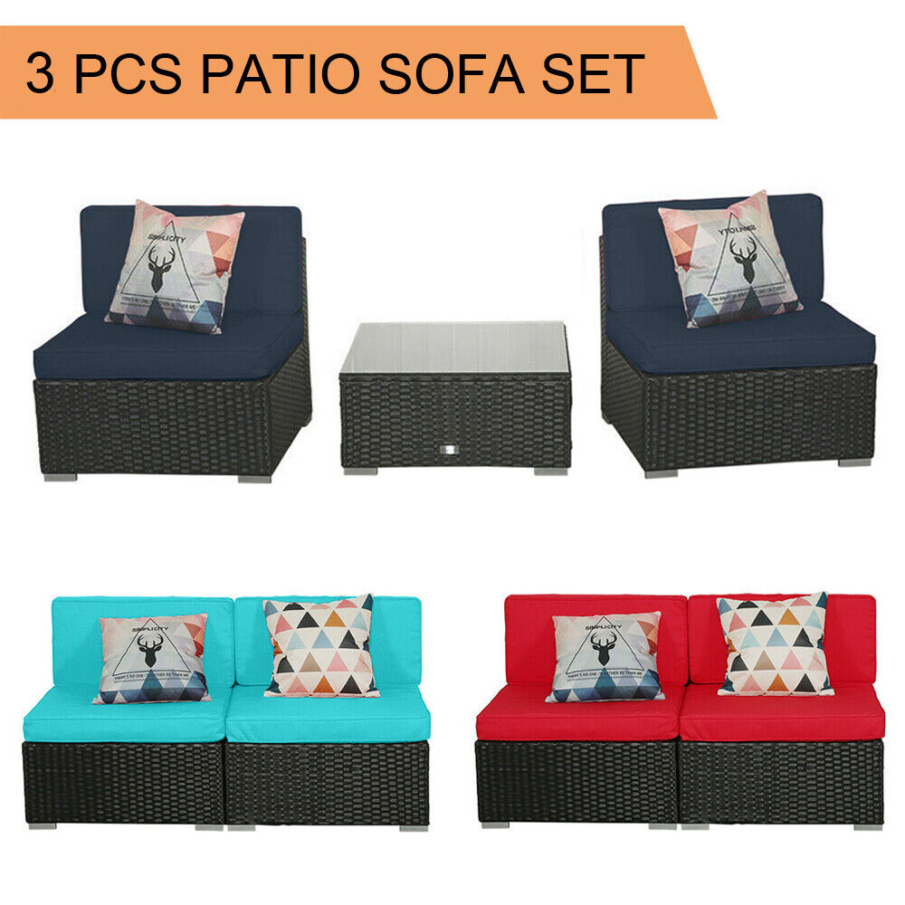 Garden Furniture - 3 PCS Patio Outdoor Wicker Rattan Furniture Garden Sofa Couch Set Table Cushion