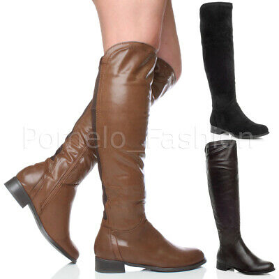 WOMENS LADIES LOW HEEL ZIP KNEE HIGH ELASTIC STRETCH GUSSET RIDING BOOTS SIZE Heel Knee High Stretch Boots