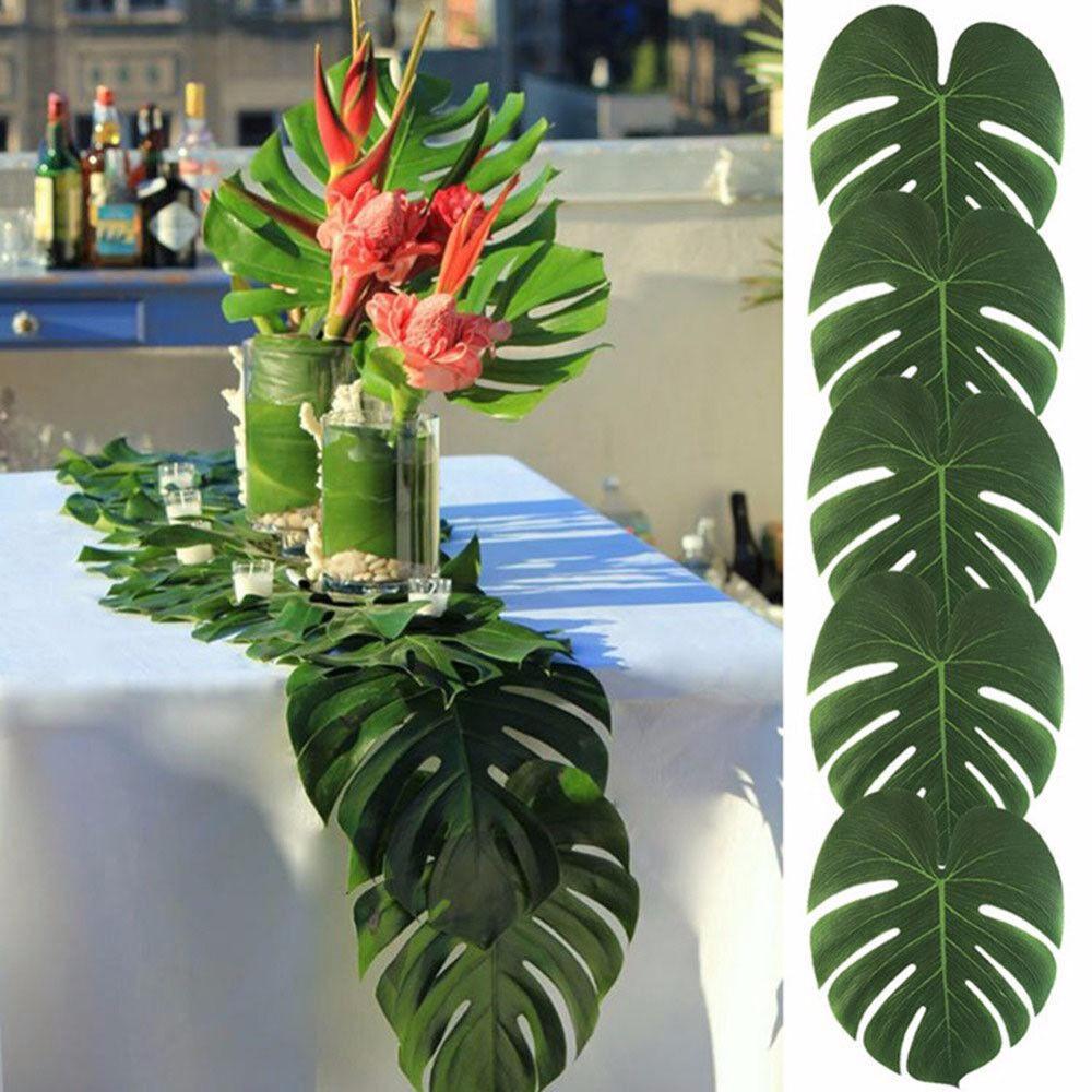 24X Tropical Hawaiian Artificial Palm Leaves Jungle Foliage Luau Party Decor UK
