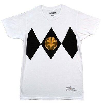 Power Rangers White Ranger Costume Licensed Adult T Shirt - White Power Ranger Adult Costume