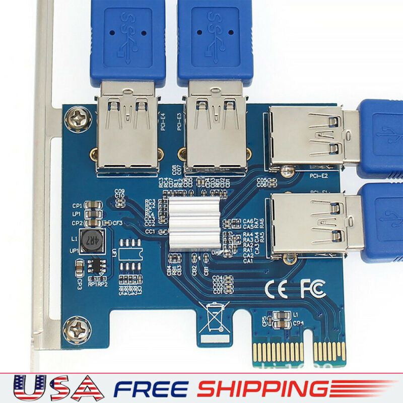 PCI Express 1 to 4 Adapter USB 3.0 Extender Card Mining Accessory 4port PCI-E