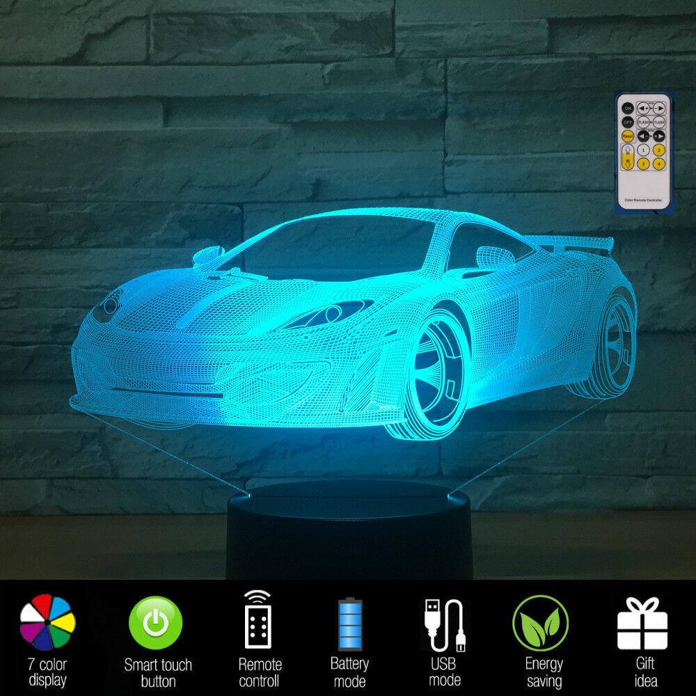 Car 3D Night Light 7 Colors Changing Remote Control Desk Lam