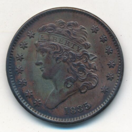 1835 CLASSIC HEAD HALF CENT-SENSATIONAL COPPER TYPE COIN! SHIPS FREE! INV:2
