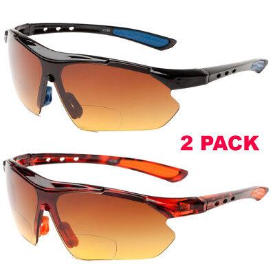 2 PACK BIFOCAL Vision Reading Sunglasses HD High Density Driving Sport (Bifocal Sunglasses Wholesale)