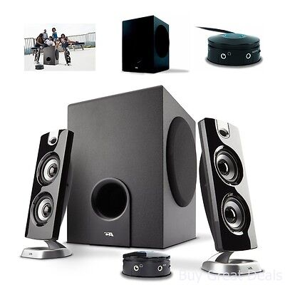 3 Piece Speaker System With 30 Watt Powered Satellite Speakers And PC Subwoofer