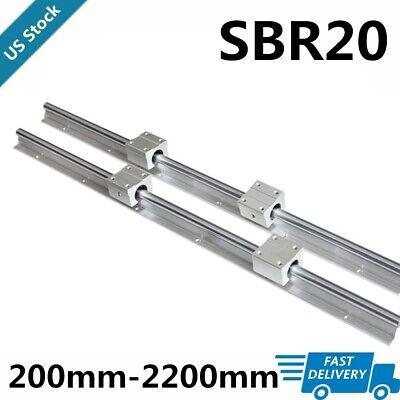 2x Sbr20 L2002200mm Linear Silde Rail Guide Shaft4x Sbr20uu Bearing Block Set