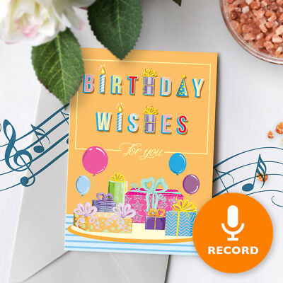 120s Birthday Wishes Greeting Card - Singing Birthday Card With Sound 00015