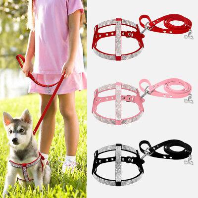 Step In Dog Harness& Leash Set Adjustable Bling Rhinestones Suede Pink Red (Pink Leather Dog Harness)