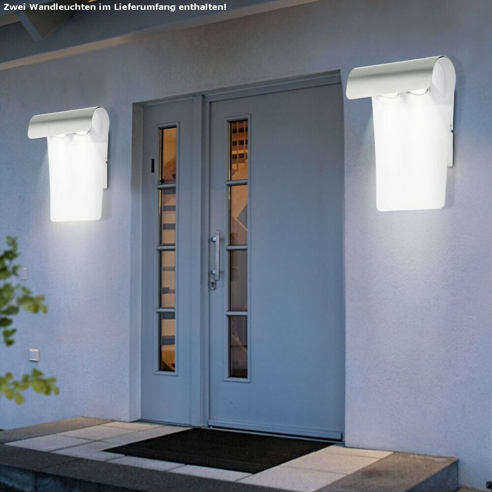 2x LED Außen Wand Leuchte Haus Lampe Edelstahl Balkon Beleuchtung IP44 Hof Licht
