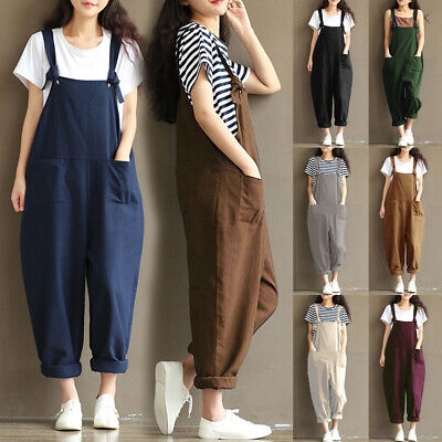 UK Womens Baggy Oversized Ladies Dungarees Overalls Jumpsuit Playsuit Long Pants