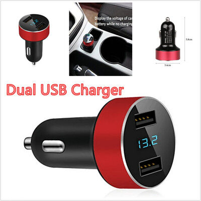 Car Charger 5V 31A Dual USB Quick Charge LED Display Voltage For All Phone Red