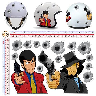 Adesivi casco lupen gijen the third cartoon sticker lupin helmet tuning 15 pz.