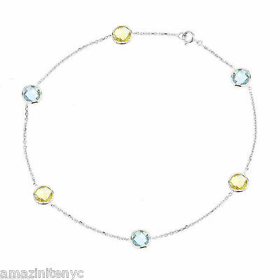 14K White Gold Anklet Bracelet With Blue And Lemon Topaz Gemstones 9""