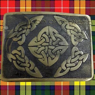 Highland Kilt Belt Buckle Swirl Celtic Brushed Antique Finish Scottish Buckles Highland Swirl