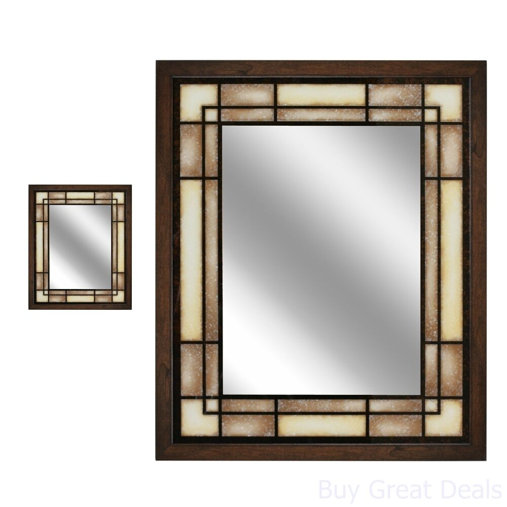 huge discount c5002 0ebd7 Details about 25x31in Framed Wall Mirror Home Bathroom Decor Rectangle  Hanging Vanity, Brown