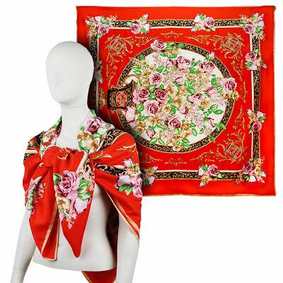 MAXI FOULARD donna in SETA rosso scarf silk vintage fazzoletto da collo fular