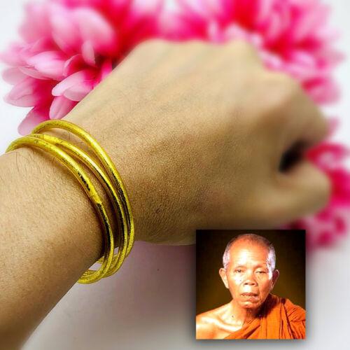16063 Set3 Gold Sand Bangle Bracelet Rich Mahasedti Kabbalah Thai Amulet Lp Koon