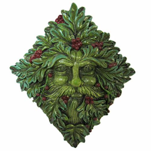 "NEW Holly King Green Man Plaque 9.5"" Winter Greenman Altar Tile Figurine Decor"