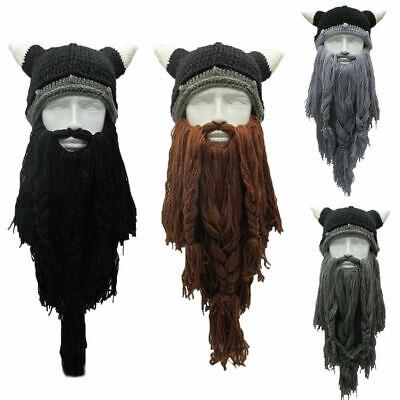 Viking Beard Hats (Halloween Viking Beanie Beard Ski Hat Cap With Horns Winter Yarn Cosplay)