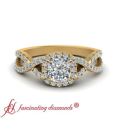 1 Carat Cushion Cut Diamond Infinity Twist Halo Engagement Ring In Yellow Gold 1