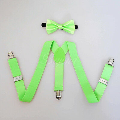 Neon Green Suspender and Bow Tie Set for Baby Toddler Kids Boys Girls - Neon Suspenders And Bow Tie