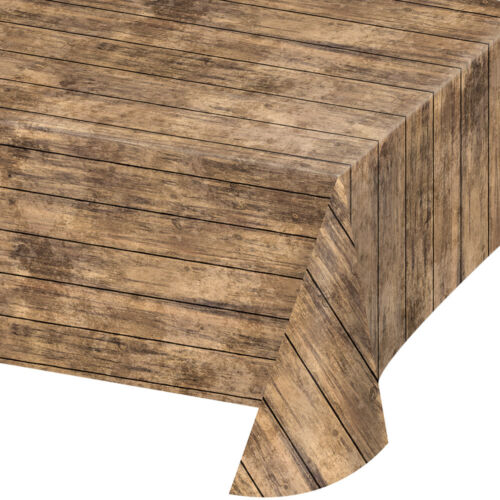 Bulk Wood Grain Plastic Tablecloths, 6ct